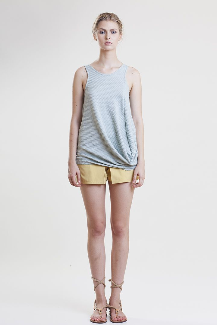 draped quilted jersey top Spring Summer 15