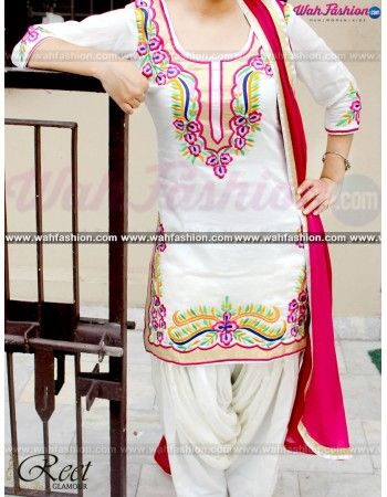Give yourself a stylish & designer look with this Aesthetic White And Magenta Embroidered Punjabi Suit. Embellished with Embroidery work and lace work. Available with matching bottom & dupatta. It will make you noticable in special gathering. You can design this suit in any color combination or in any fabric. Just whatsapp us for more details. For more details whatsapp us: +919915178418