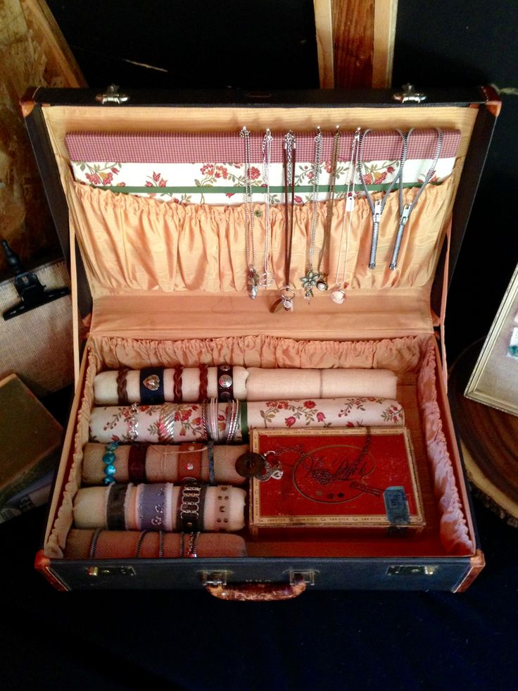 Vintage Suitcase Portable Jewelry Display The Inside Of