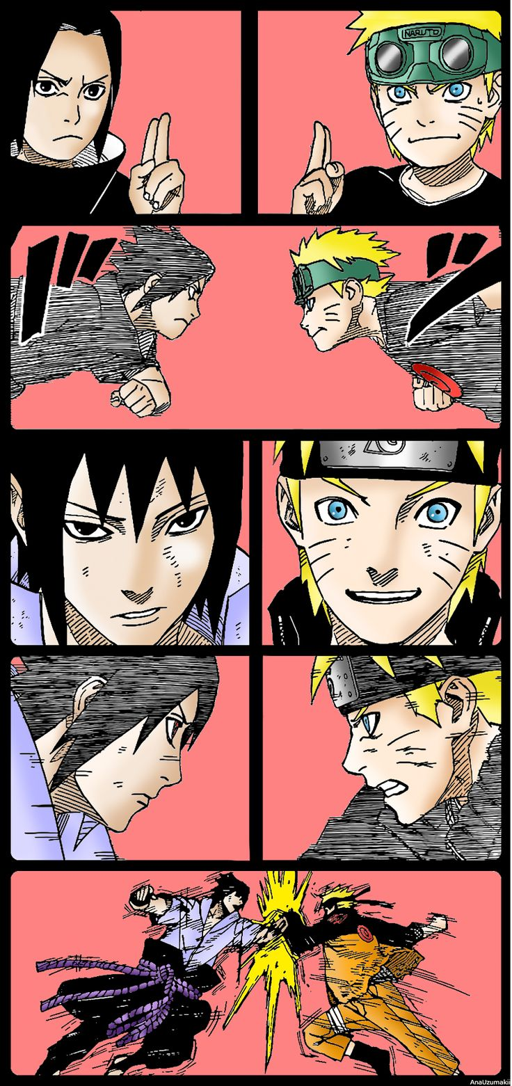 """We're pretty good pals."" -Naruto ""That guy's the closest thing to a best friend that I've ever had."" -Sasuke"