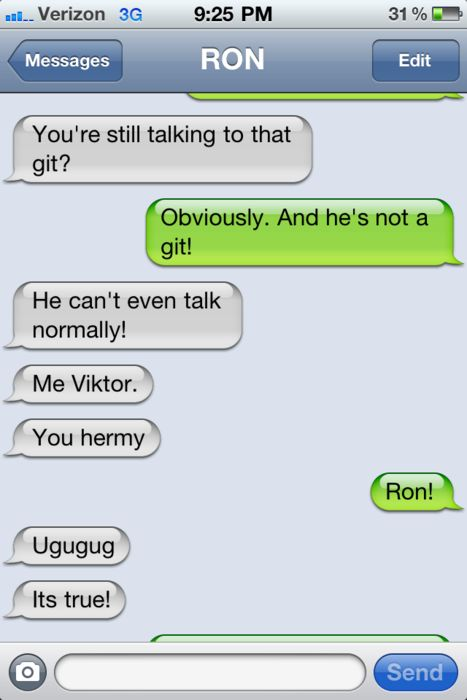 Ron, Hermione and Viktor:  Internet Site, Harry Potter Texts Messages,  Website, Web Site, Funny, Text Messages, Ron And Hermione, Hermione Texts, Harry Potter Humor