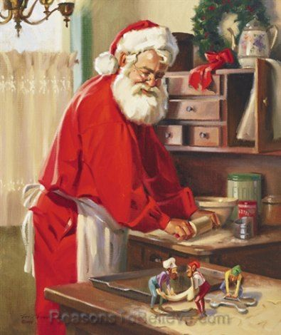 """""""Cookie Makers by Tom Browning depicts Santa in the kitchen with his apron on, rolling out some cookie dough while keeping an eye on the elv..."""
