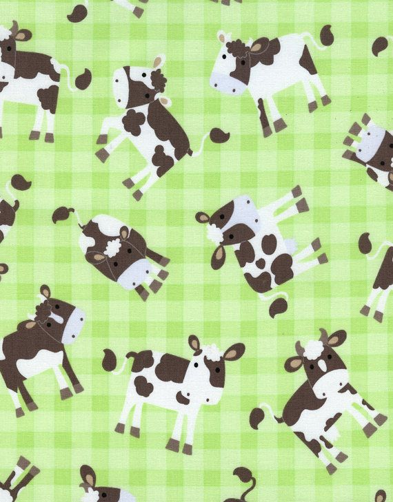 FABRIC BABY BARNYARD Cows on Plaid Nursery by DorothyPrudieFabrics, $5.15