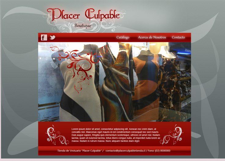 Maqueta de Sitio Web para tienda de ropa Placer Culpable