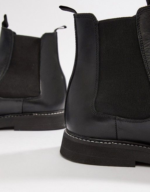 DESIGN Wide Fit chelsea boots in black leather with chunky sole ... 71c7111d1bc