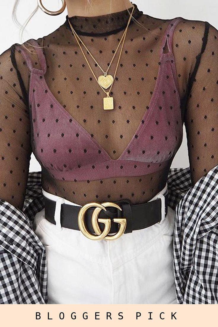 Black Sheer Mesh Diamond Print Bodysuit - Candice