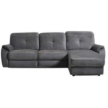 Canapé d'angle relaxation manuel 3 places en tissu ROS coloris anthracite - pas cher ? C'est sur Conforama.fr - large choix, prix discount et des offres exclusives Canapé d'angle sur Conforama.fr
