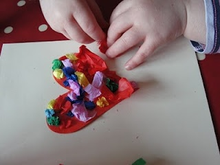 "Tissue paper crafts . . . cut out a ""base"" shape and"