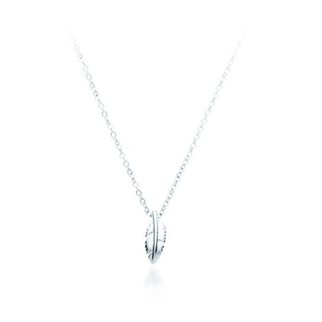 Symbol of Freedom Petite Feather Pendant Necklace Rhodium Dipped from My Jewellery Story