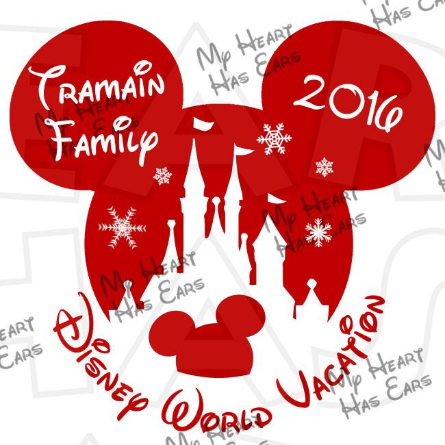 Christmas Mickey Mouse castle with Personalized family name Disney World Vacation digital clip art DIY for shirt :: My Heart Has Ears