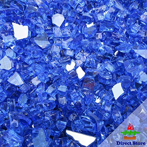 Direct store DL105 10-pound 1/4 inch Fire Glass Sapphire Blue Color - Designed for Gas Fire Pits and Fireplaces (1/4 Sapphire Blue Reflective)