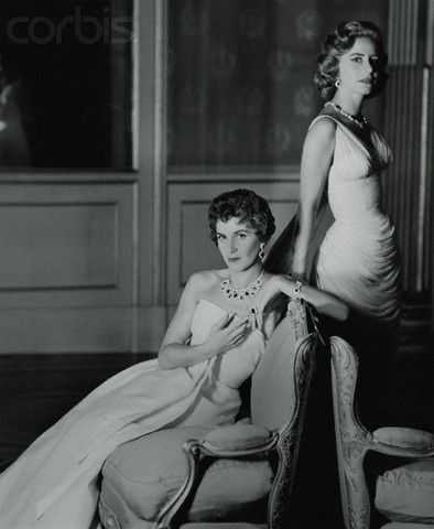 Sisters Eugenie Niarchos and Athina Onassis in Gowns