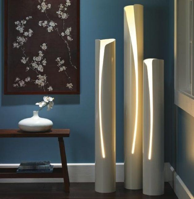 PVC DIY - Lighting and other great ideas. If these were heated, before they were cut, they could have been shaped as well.
