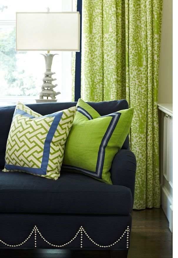 Lime Green U0026 Navy Pillows (patterned Pillow Is Aga Fabric In Jungle Green);  Love The Nailhead Pattern On The Sofa   Anne Hepfer Designs Via Quadrille  ... Part 65