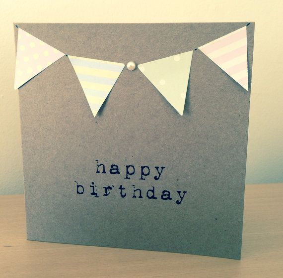 Vintage Style Shabby Chic Happy Birthday card hand made in typewriter with pretty pastel bunting & pearl detail - can be personalised on Etsy, £1.49