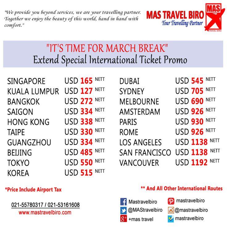 Special International Ticket Promo. Book and Buy Mas Travel Biro 021-55780317