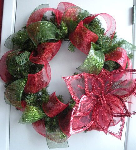 Christmas Wreath With Large Poinsettia Green And Red Mesh