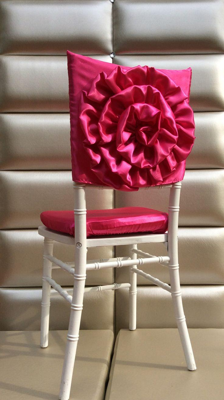 Pink Flower Chiavari Chair Cover