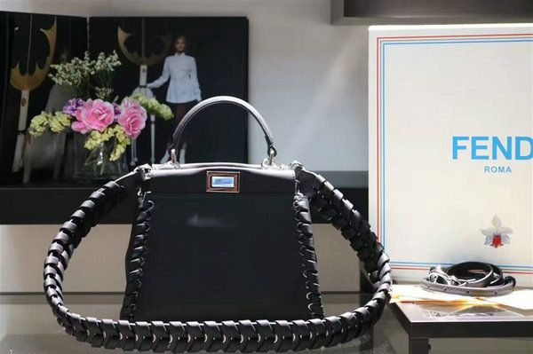 2016 A/W Fendi Fashion Show Mini Peekaboo Weave Handbag in Black Nappa Leather