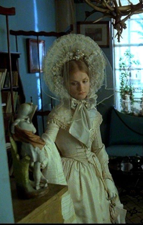 """Isabelle Huppert as Marguerite Gautier in """"La Dame aux Camélias"""" (1980) Wonderful movie costumes!"""