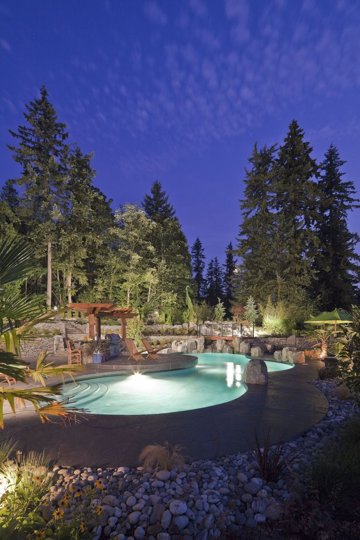 ALKA POOL - With the use of lights this stunning freeform pool can be used late into the night!  Photo courtesy of Pacifica Landscape Works Inc.