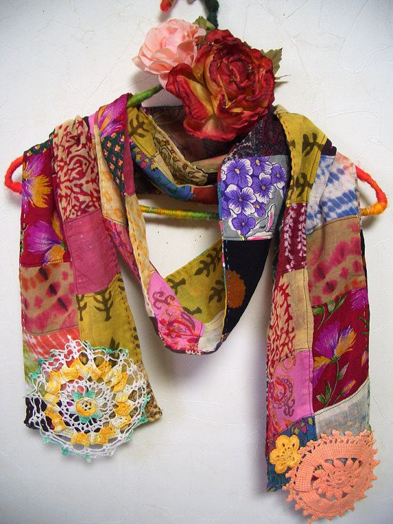 Patchwork Ethnic Cotton Silk Multi Color Scarf by ApricotCircus