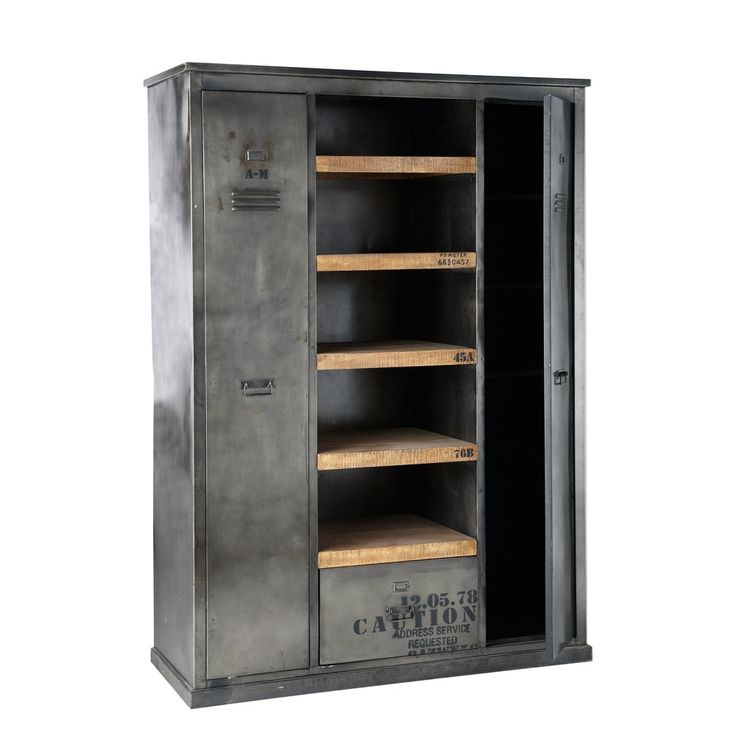 kleiderschrank im industrial stil aus metall und mangoholz massiv schr nke pinterest. Black Bedroom Furniture Sets. Home Design Ideas