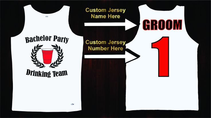 Take the night to the next level with our Bachelor Party Jersey Tanks. Personalize your jerseys by picking a number for the bachelor and all of the groomsmen, then add your own custom jersey names or