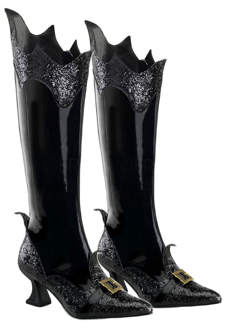 womens black patent witch boots