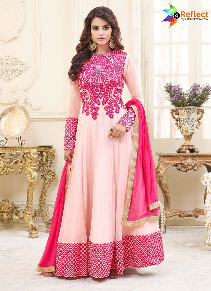 LIGHT PINK GEORGETTE FLOOR LENGTH ANARKALI SUIT