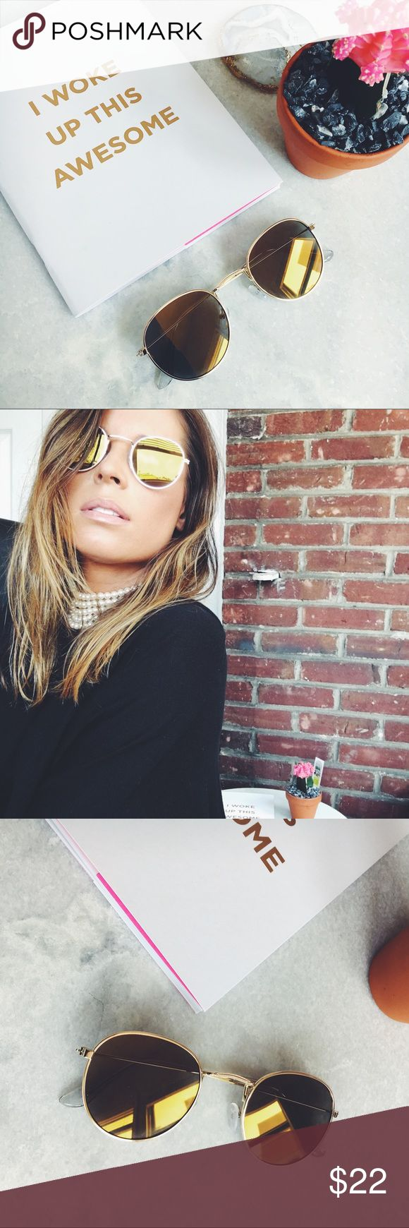 🆕Kiley Gold Mirrored Round Aviator Sunnies New Boutique Item. amqn Accessories Sunglasses
