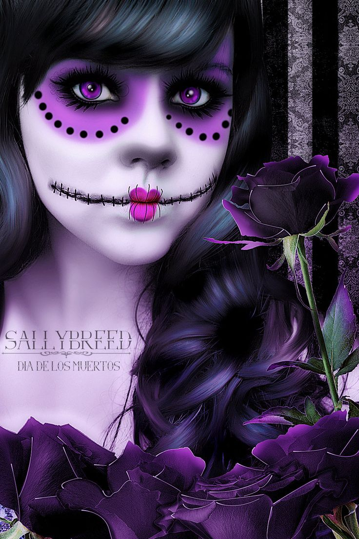 Dia de los muertos: Purple, Sugar Kull, Of The, Dead, Sugar Skulls, Day, Face Painting, Makeup Idea, Halloween