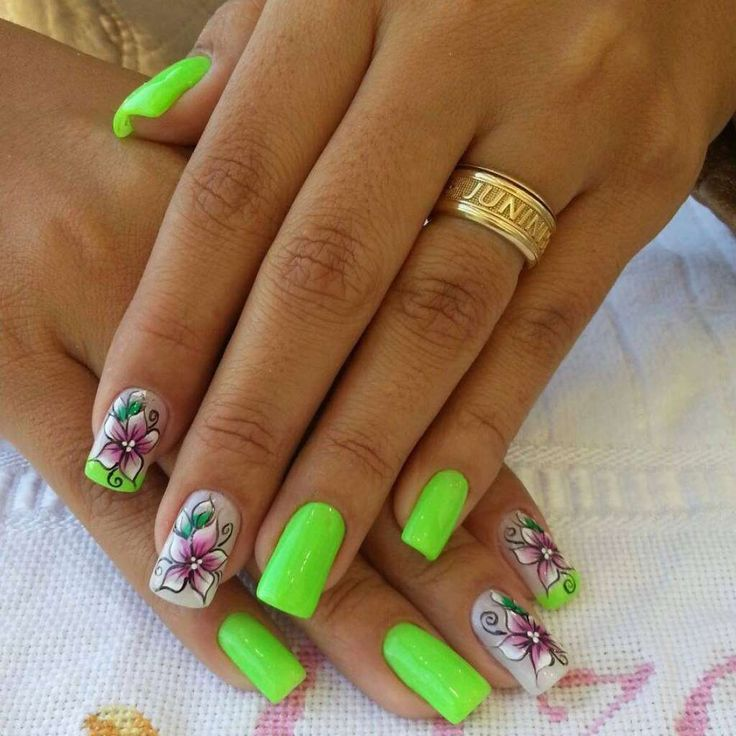 Vivid lime nail art with flowers :: one1lady.com :: #nail #nails #nailart #manicure