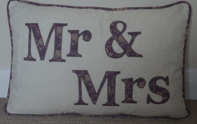 Cushion Pillow Handmade Vintage Wedding Anniversary Gift Mr Mrs Applique Purple £25.00