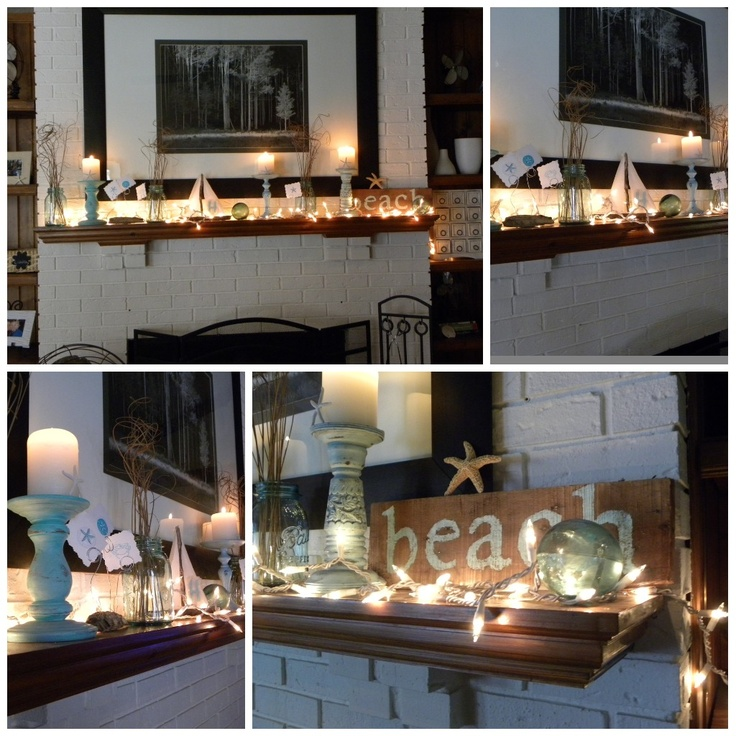 cute lights on beach themed mantle! #nautical #beachdecor #beachstyle