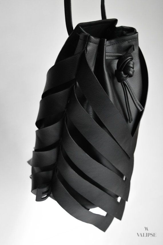 3-in-1 Black Vegan Leather Bag Convertible Backpack Crossbody Bag Shoulder Bag Minimal Style Bucket Bag Gift Idea for Her