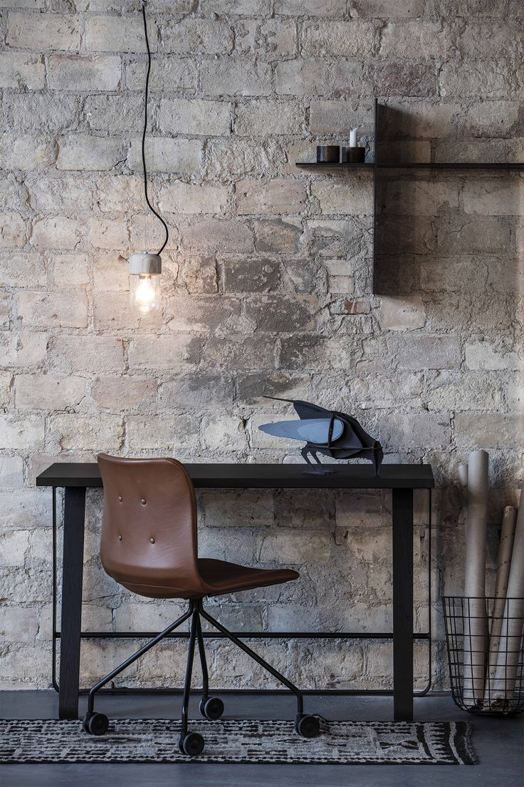 Element Lamp - 3 lamps in 1. Use it as table lamp, wall lamp or pendant . Designed by Ditte Buus Nielsen  Primum Chair, Hemingway desk and Up The Wall shelves by Bent Hansen Studio