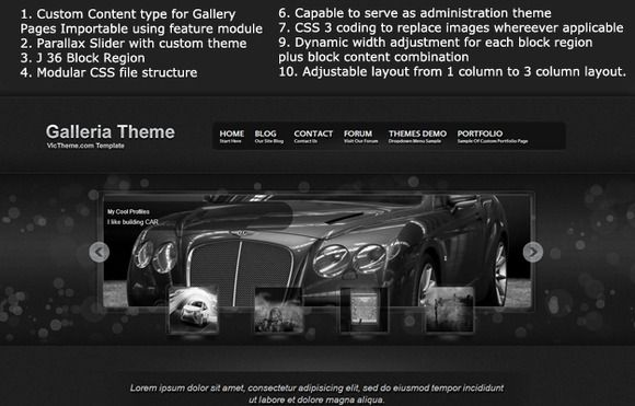 Check out Galleria Premium Drupal 7 Theme by VicTheme on Creative Market