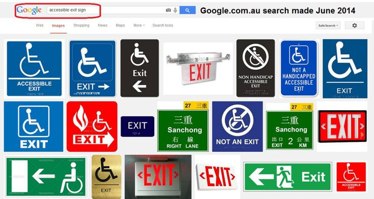 Wheelchair Symbols on Exit Signs To be completely honest – this is not the first exit sign design to have a symbol representing a person using a wheelchair.There have been some sign manufact…