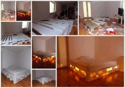 DIY Glowing Bed | 18 Simple Yet Creative Wood Pallets Projects To Give Your Home That Rustic Look