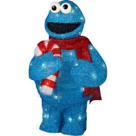 "UL 50-Light 28"" Tinsel Cookie Monster With Package, Lawn Ornaments & Garden Sculptures,METAL 50%,POLYESTER 20%,WIRE 15%,BULB 10%,PLASTIC 5%, by Kurt"