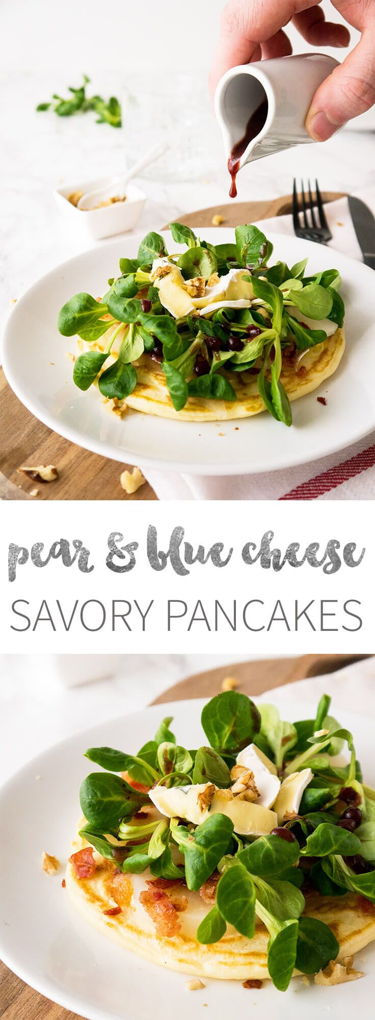 Savoury Pancakes with pear and blue cheese are topped with mache lettuce, bacon, & walnuts and drizzled with a cranberry balsamic vinegar dressing. Perfect for brunch!