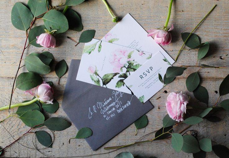 Peony  Watercolor Wedding Invitations