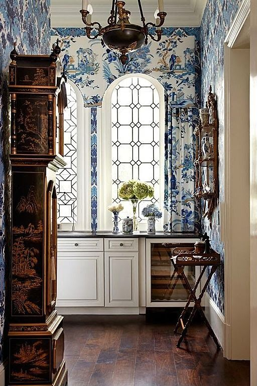 Elegant and Exotic Chinoiserie Pattern on Walls, High Ceilings, Leaded Glass Windows, Over Scaled Burl Wood Armoire