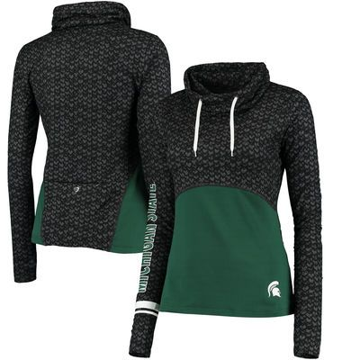 Michigan State Spartans Colosseum Women's Scaled Cowl Neck Pullover Hoodie - Black/Green