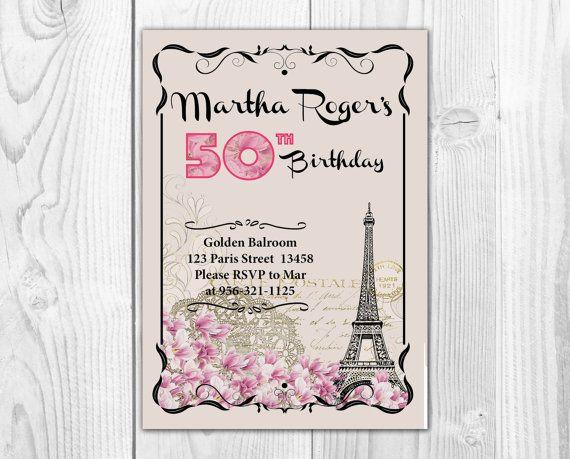 29 best adult birthday invite printable invitations images on paris vintage letter 50th birthday 20s postcard by printadorable stopboris Gallery