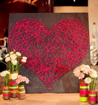 DIY Valentine's day heart string art / Valentin napi szívecskés fonalkép - fonalfestmény / Mindy