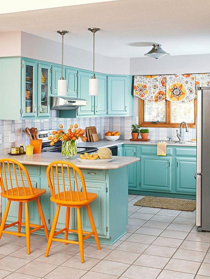 35 Stunning Bright Colorful Kitchen Design Ideas Kitchen Design Small Kitchen Design Kitchen Colour Schemes