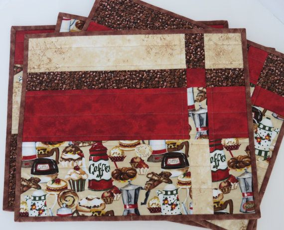 Quilted Placemats Handmade Coffee Theme Red Brown by LunettaQuilts