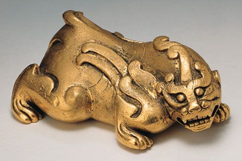 """Bixie(Mythical Animal)  North China; Western Han period (206B.C.E. - C.E. 9)  Thebixie(""""averter of evil"""") is a winged feline creature with two horns believed to appear during eras of good government.  The Asia Society"""